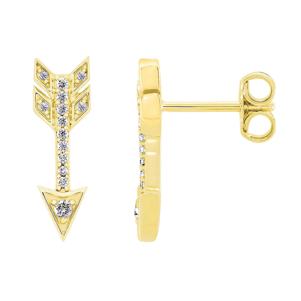 14K Yellow Gold Arrow Diamond Earrings