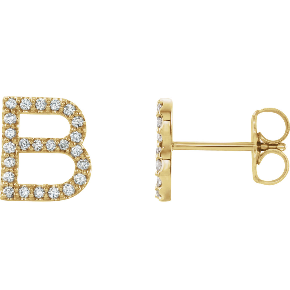 Yellow Gold Letter B Earrings