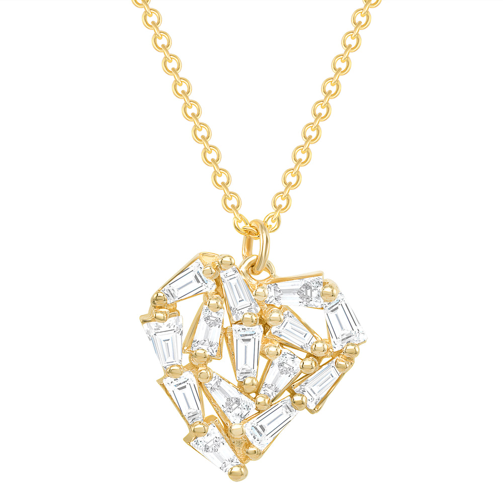 yellow gold baguette diamond heart necklace
