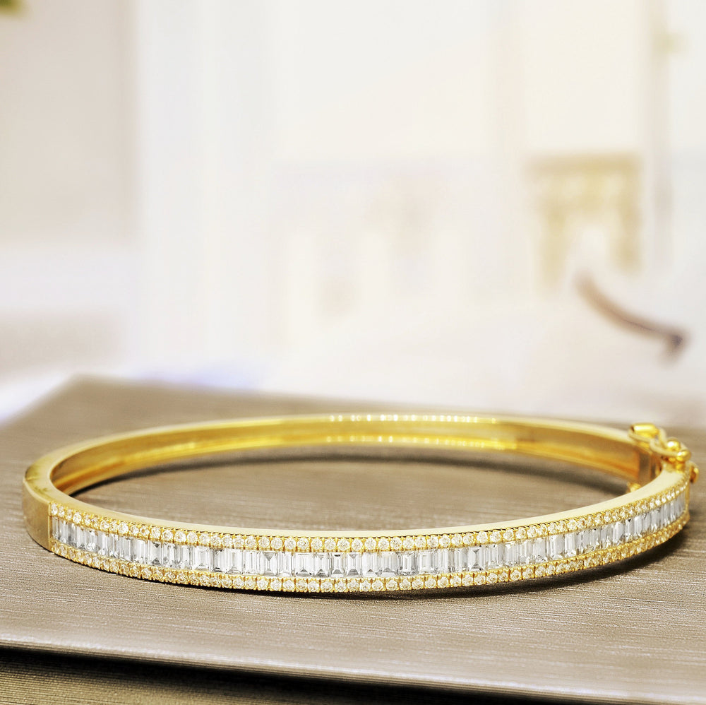 yellow gold baguette round diamond bangle 7 inches