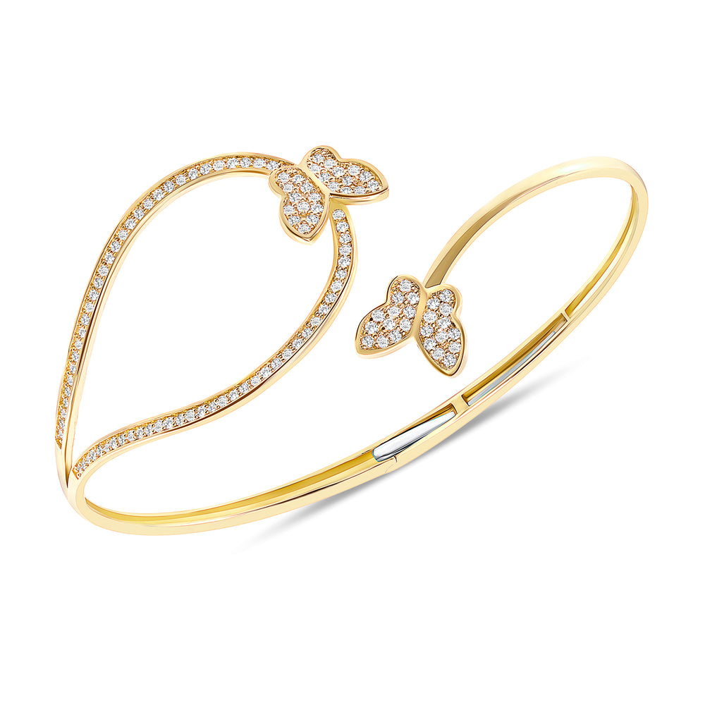 yellow gold butterfly diamond twist bangle