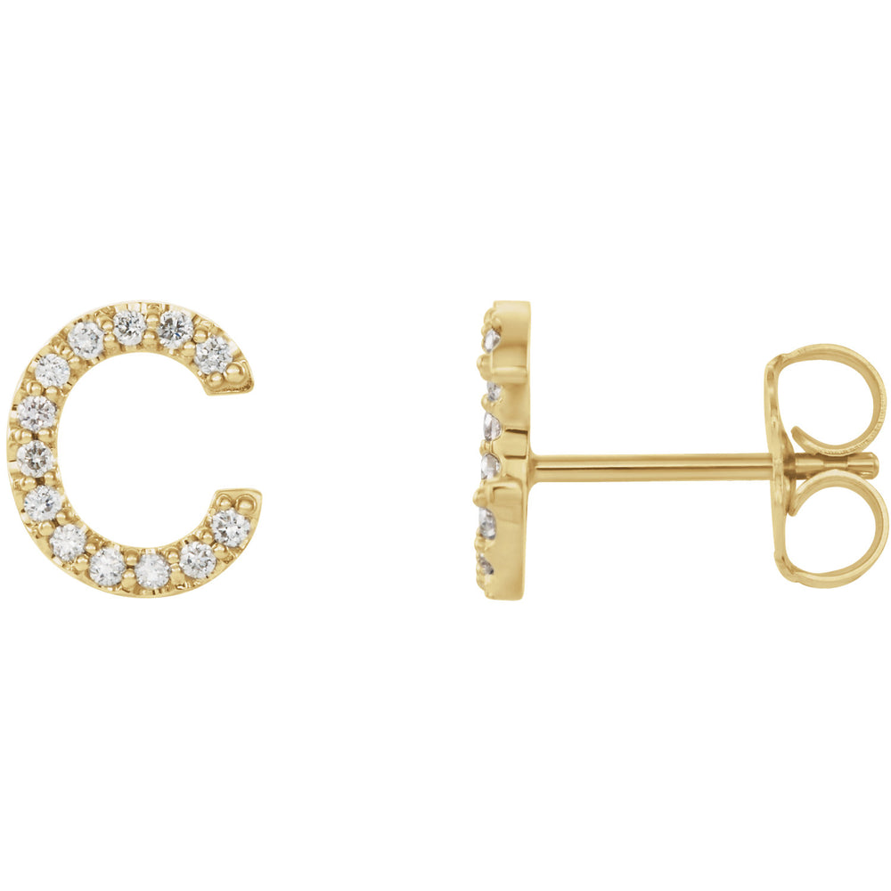 Yellow Gold Letter C Earrings