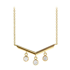 14k yellow chandelier diamond necklace