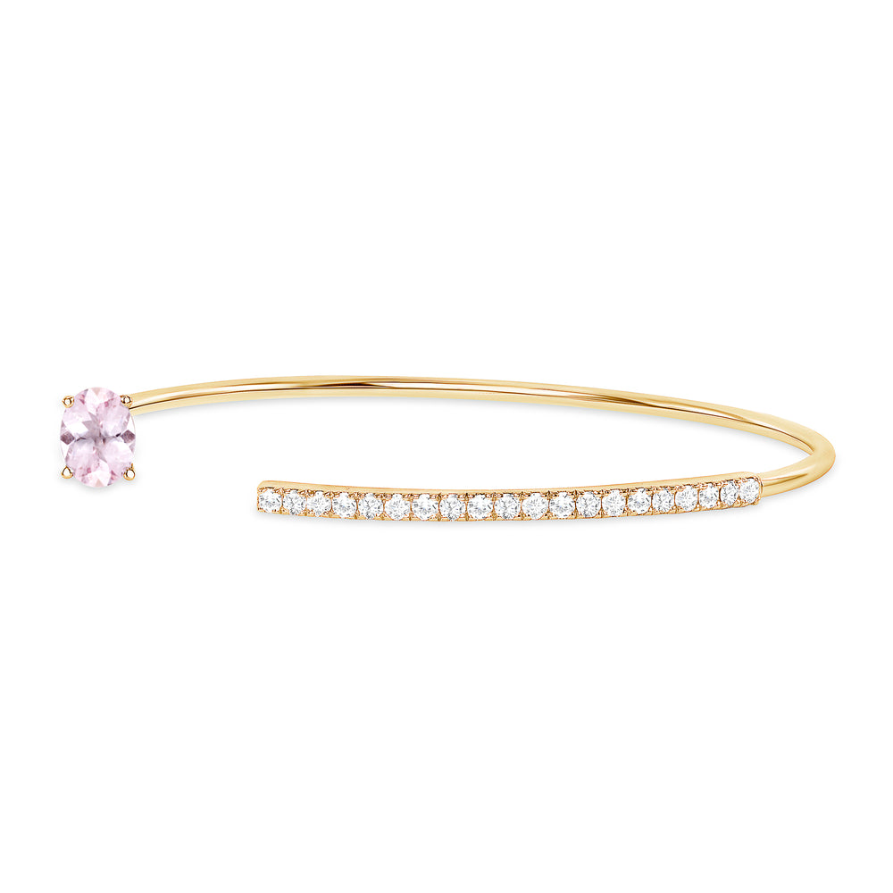 yellow gold pink sapphire diamond bangle cuff