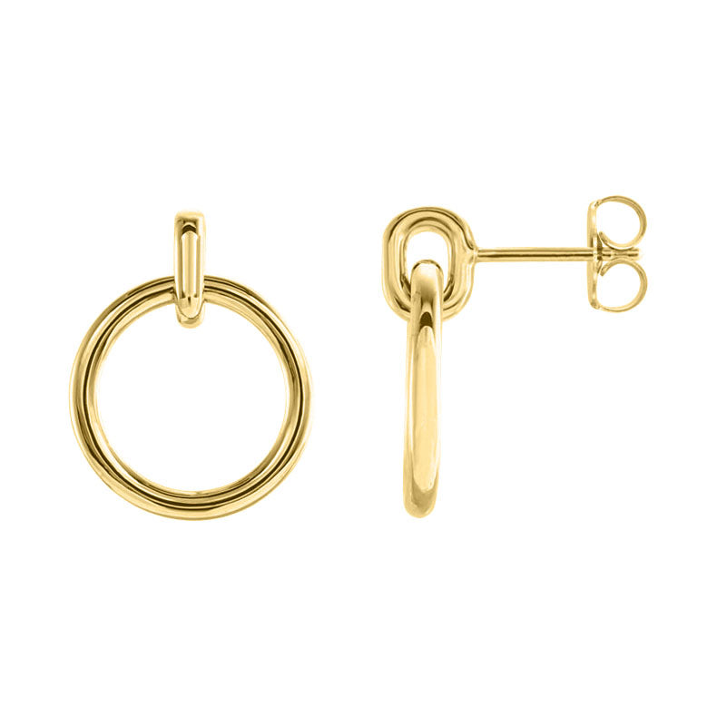 14k yellow gold circle dangle earrings