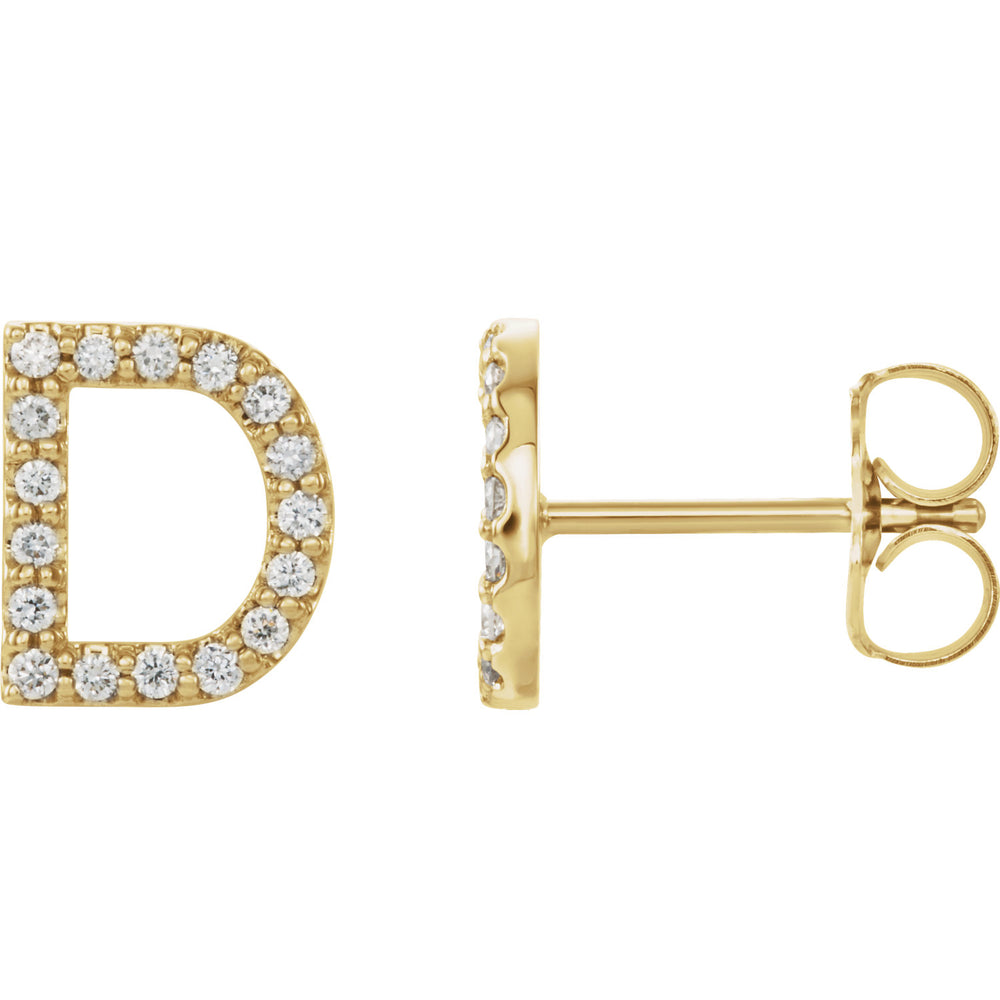 Yellow Gold Letter D Earrings