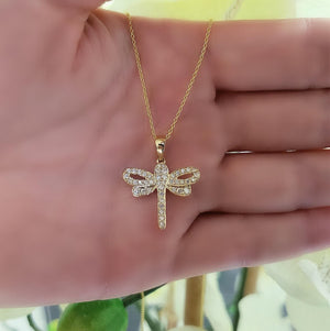 yellow gold dragonfly diamond necklace