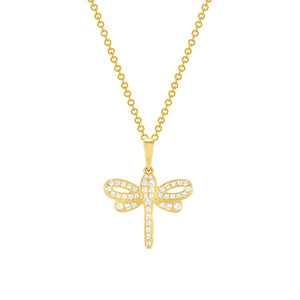yellow gold diamond dragonfly pendant necklace