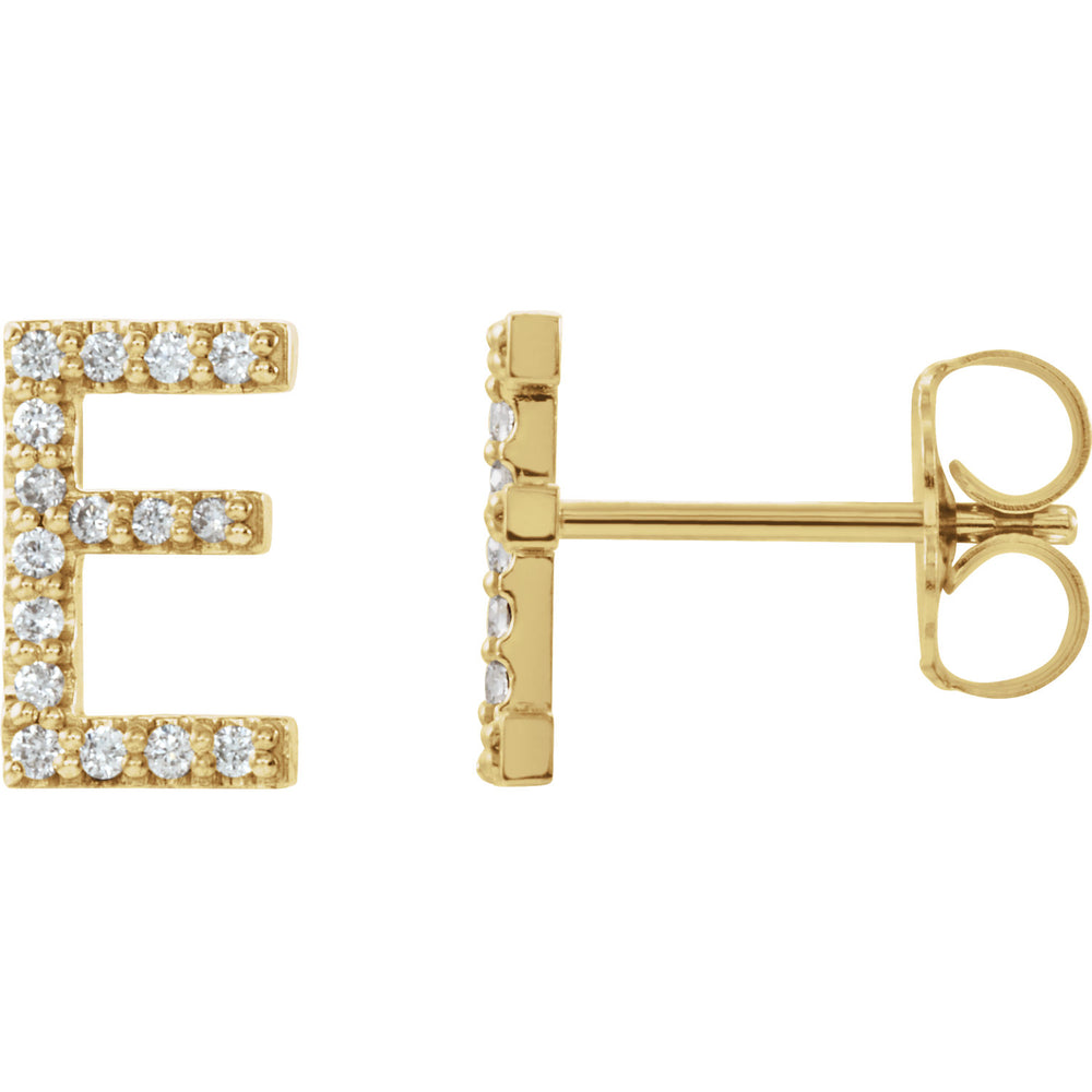 Yellow Gold Letter E earrings