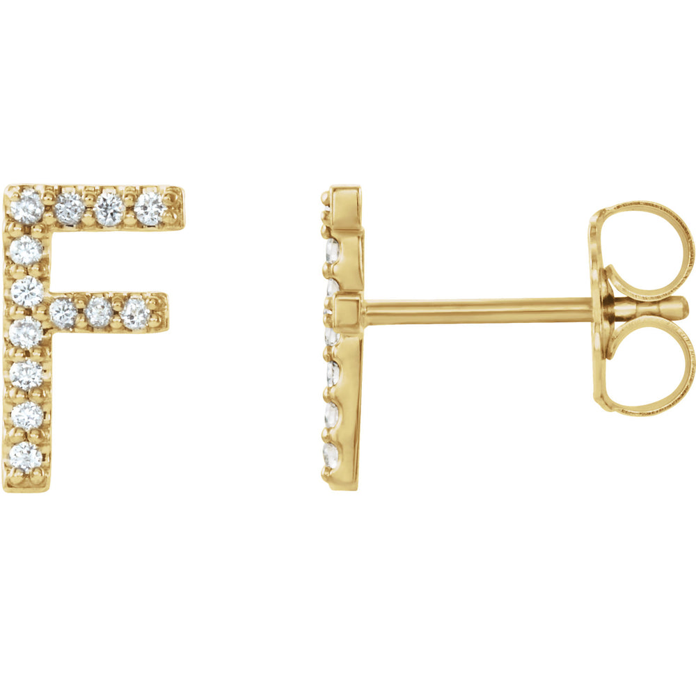 Yellow Gold Letter F Earrings