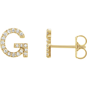 Yellow Gold Letter G Earrings