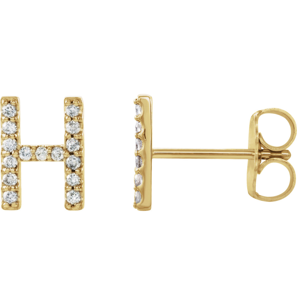 Yellow Gold letter H earrings