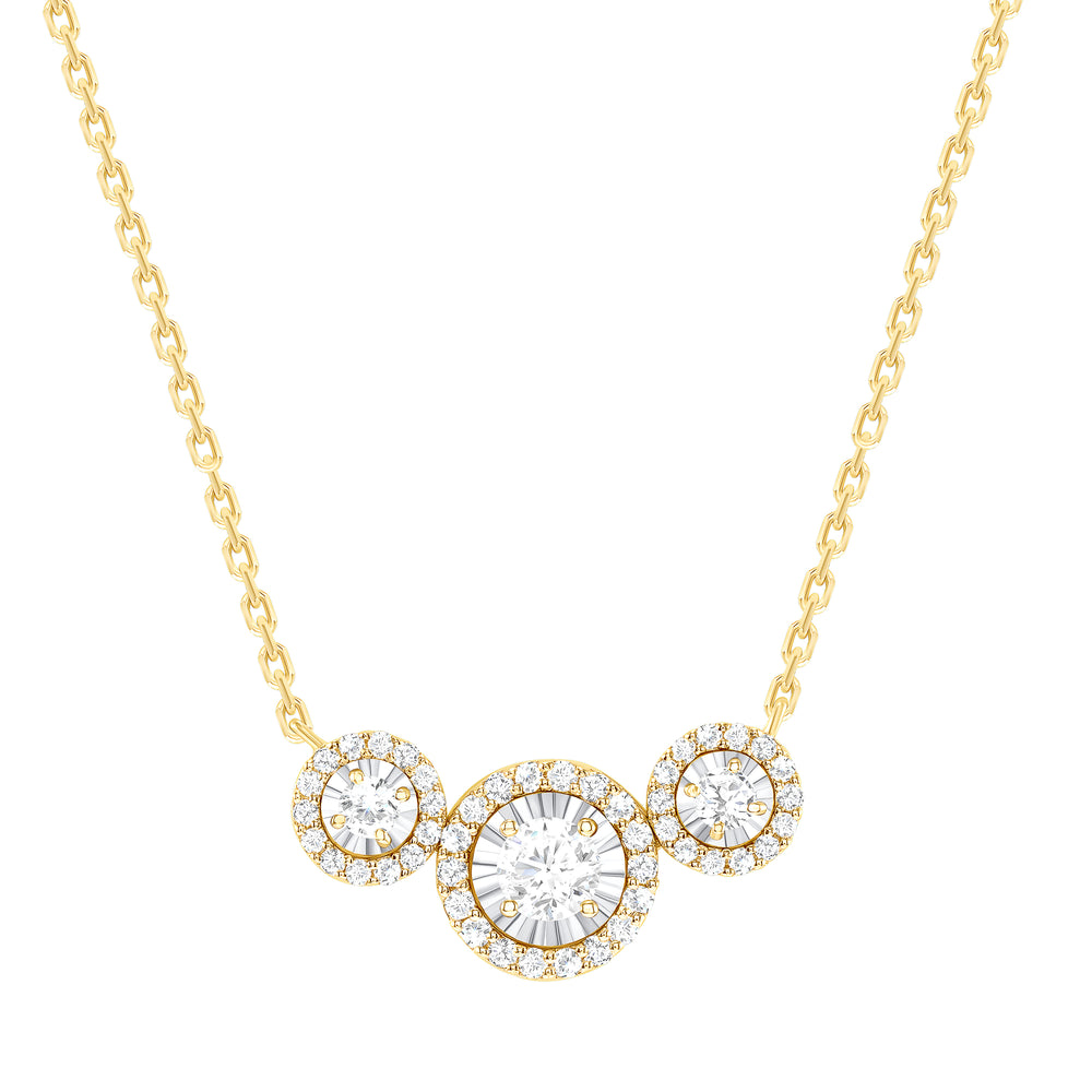 yellow gold halo diamond trio necklace