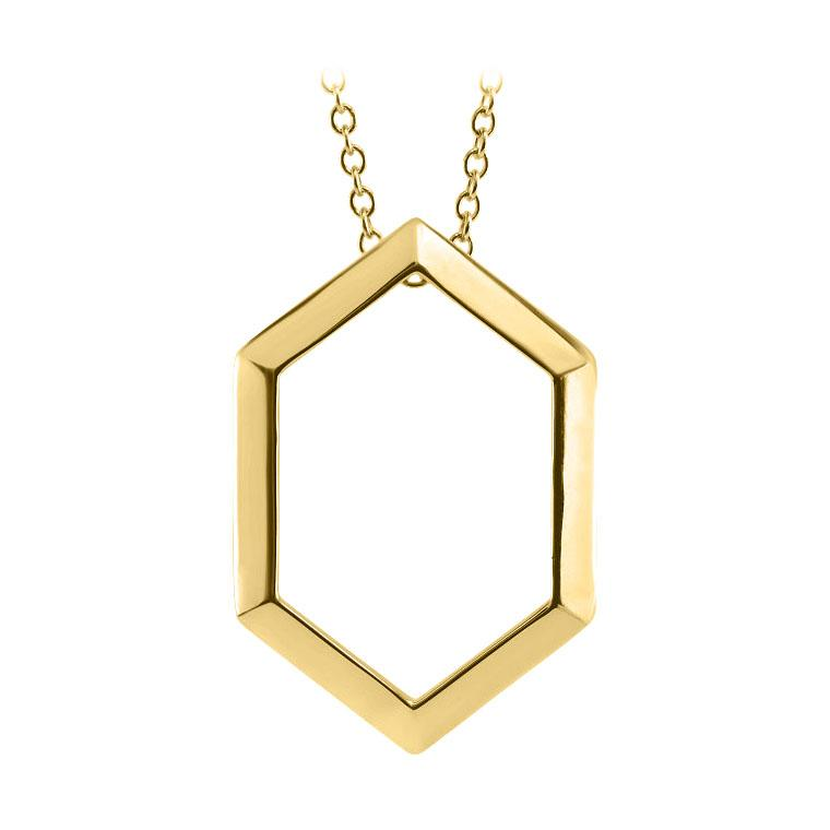 14k yellow hexagon necklace