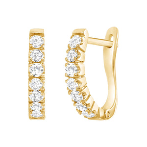 yellow gold diamond huggie hoop earrings