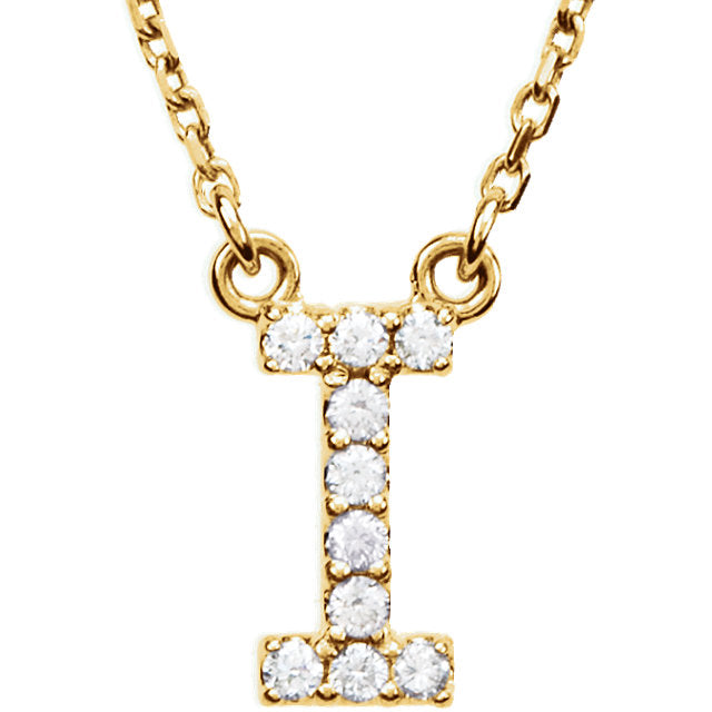 yellow gold letter i necklace