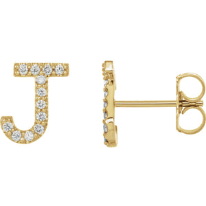Yellow Gold Letter J Earrings