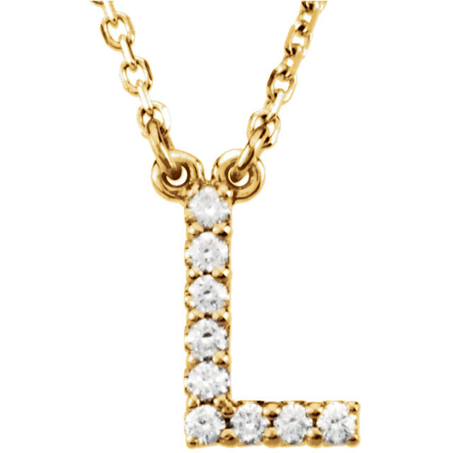 yellow gold letter l necklace
