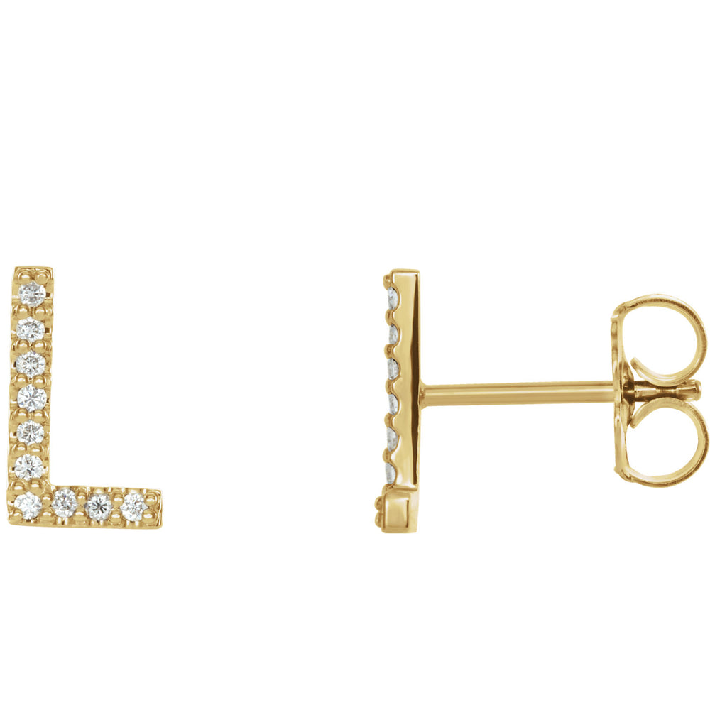 Yellow Gold Letter L Earrings