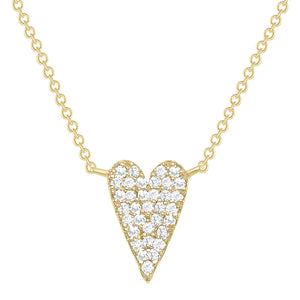 yellow gold long diamond heart necklace