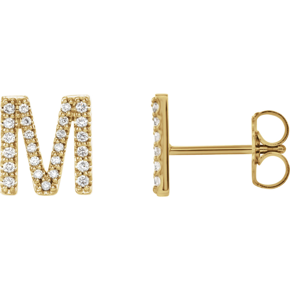 Yellow Gold Letter M earrings