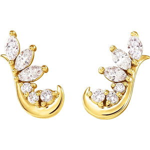 yellow gold marquise and round diamond cluster hook stud earrings
