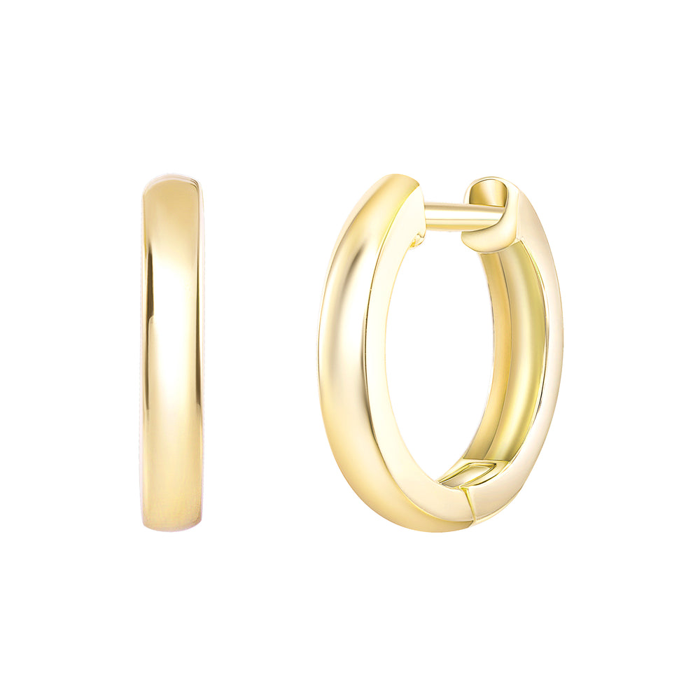 yellow gold mini hoops