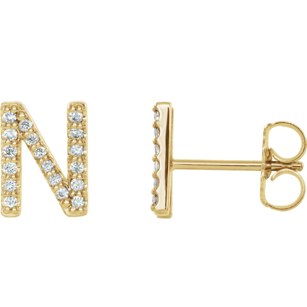 Yellow Gold Letter N Earrings