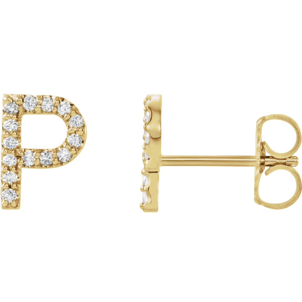Yellow Gold Letter P earrings
