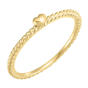 yellow gold rope heart ring