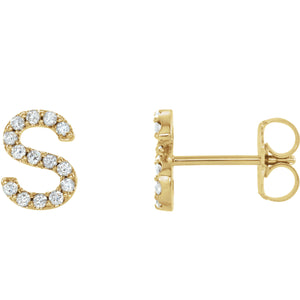 Yellow Gold Letter S Earrings