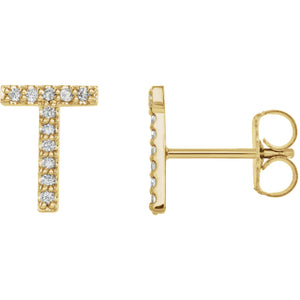 Yellow Gold Letter t earrings