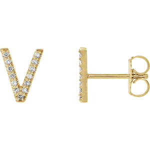 Yellow Gold Letter V Earrings