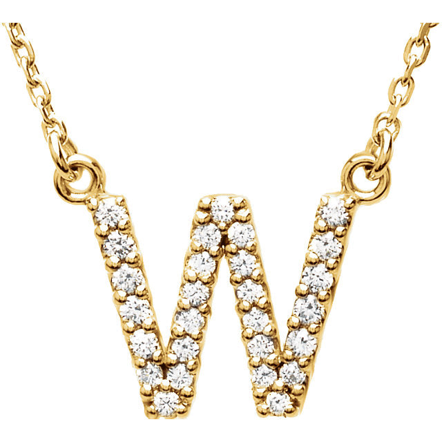 Yellow Gold Letter W necklace
