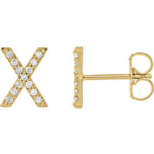Yellow Gold Letter X Earrings