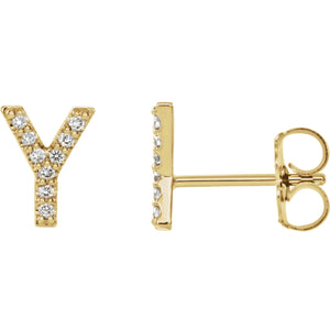 Yellow Gold Letter Y Earrings