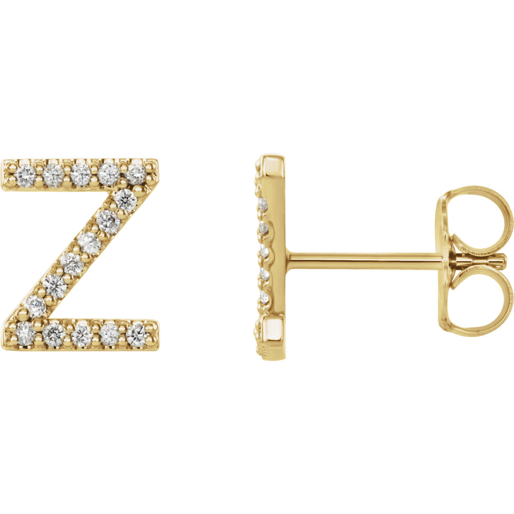 Yellow Gold Letter Z Earrings