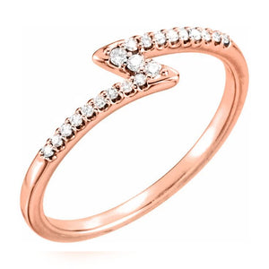 14k rose gold zig zag diamond ring