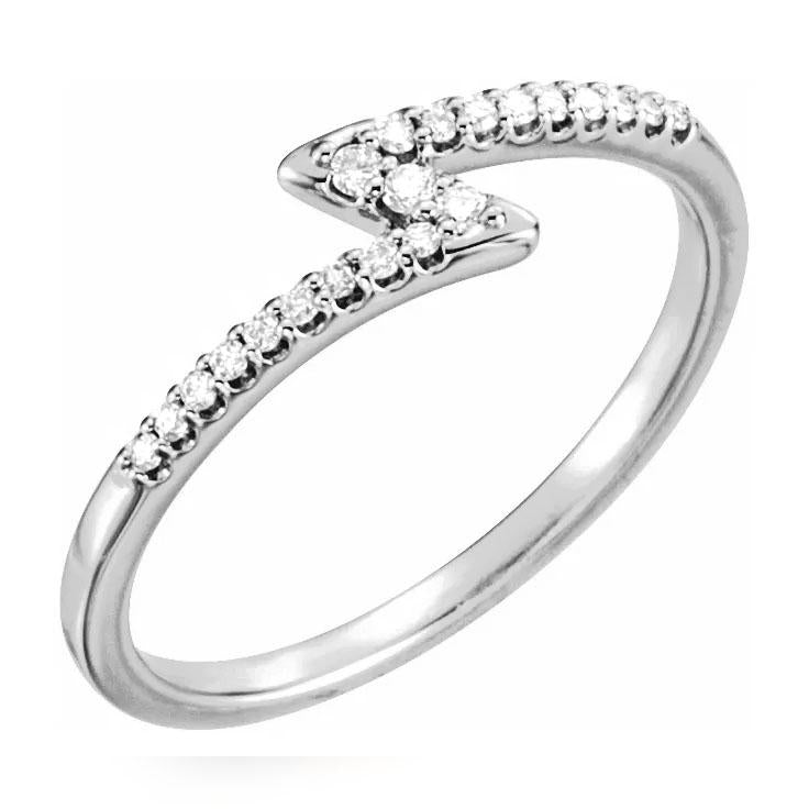 14k white gold diamond zig zag ring