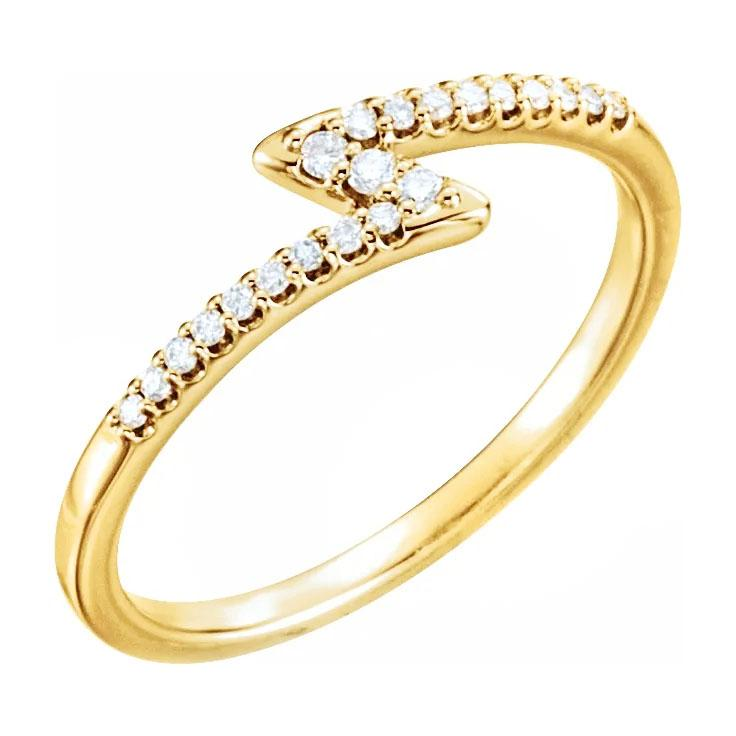 14k yellow gold zig zag diamond ring