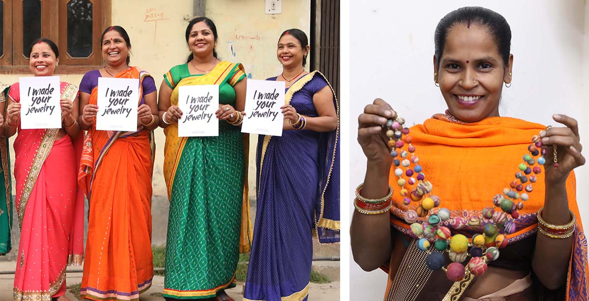"""Women artisans in India hold signs reading """"I made your jewelry"""""""