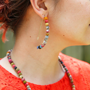 Kantha Linear Arc Earrings