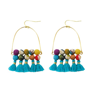 Arched Turquoise Tassel Earrings