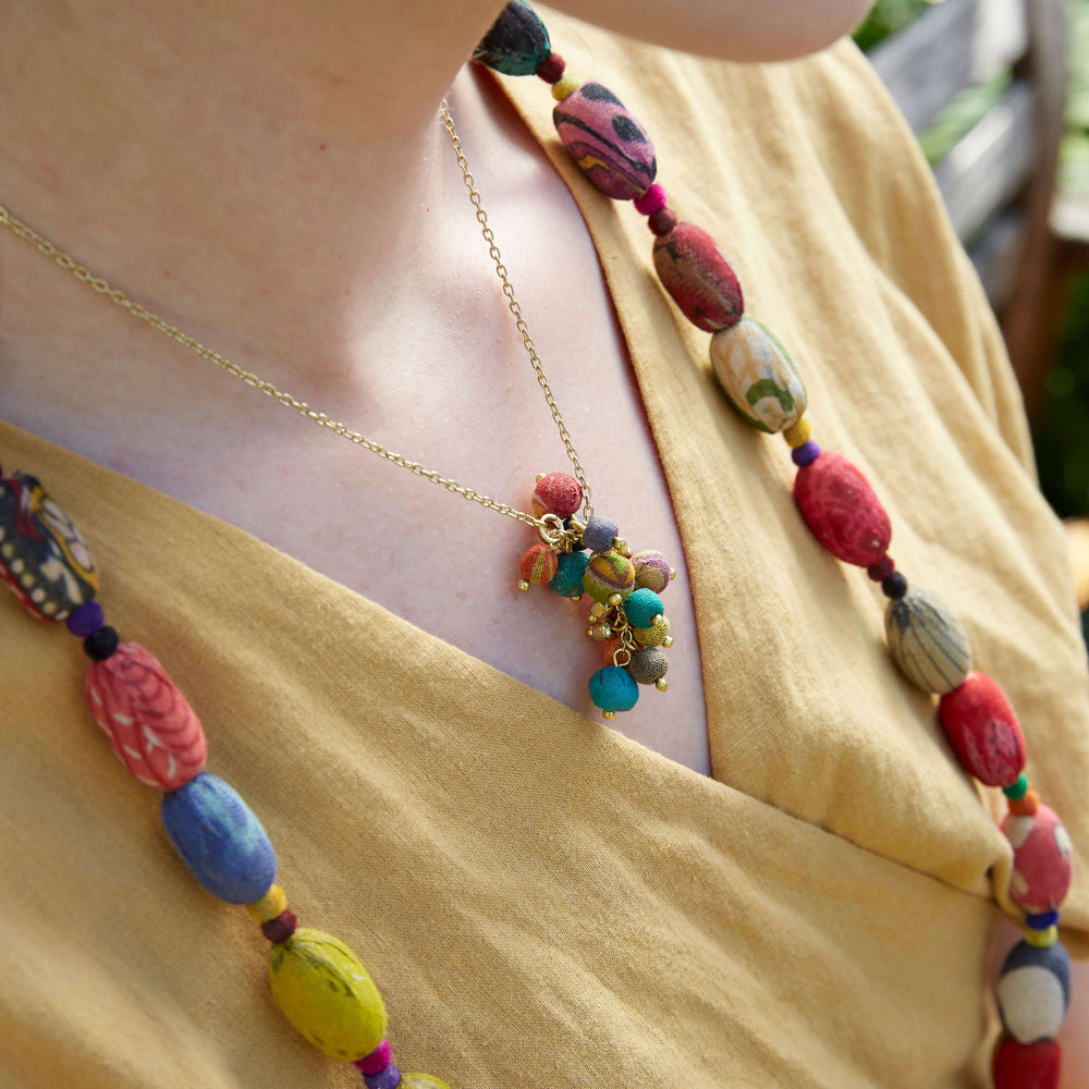 Load image into Gallery viewer, Kantha Cluster Necklace