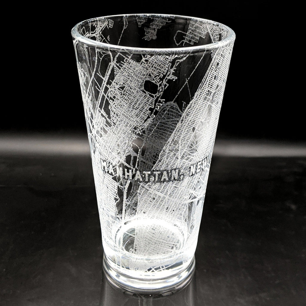 MANHATTAN, NY - Engraved Pint Glass