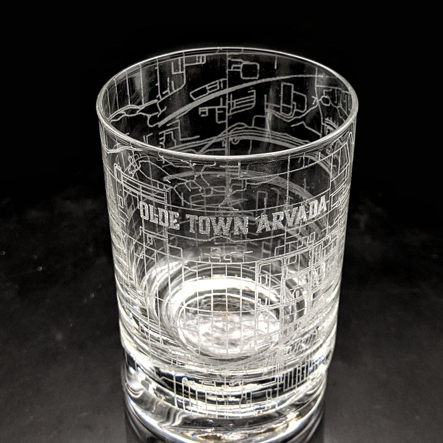 OLDE TOWN ARVADA, CO - Engraved Rocks Glass