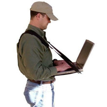 Load image into Gallery viewer, Connect-A-Desk: Mobile Laptop Harness & Desk | Hands Free Portable Adjustable Wearable Desk for Laptop, Tablet, Notepad, MacBook, etc.