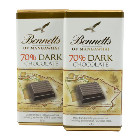 Bennetts of Mangawhai 70% dark chocolate bar