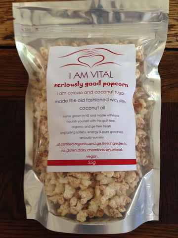 Popcorn: Cacao & Coconut Sugar seriously good Organic
