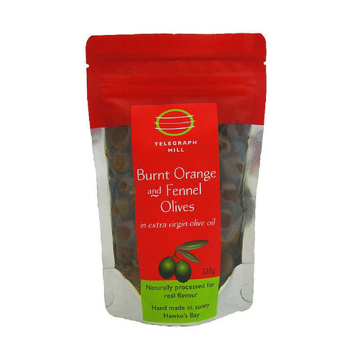 TG Burnt Orange & Fennel olives 225g